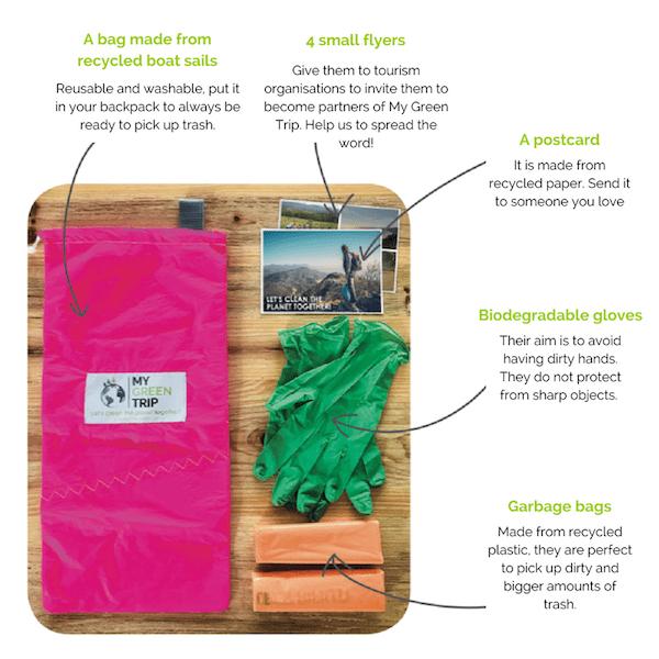 Tourisme durable : les start-ups pour devenir un voyageur responsable My Green Trip kit ramassage de déchets